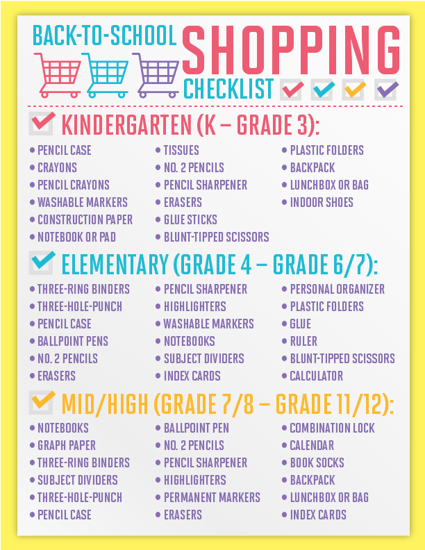 the Kumon back to school shopping checklist