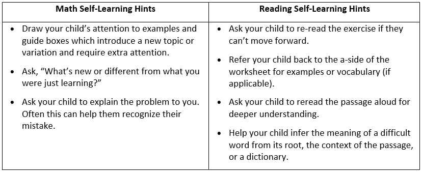 "1. Draw your child's attention to examples, 2. •	Ask, ""What's new or different from what you were just learning?"" , 3. •	Ask your child to explain the problem to you so they can find their error."